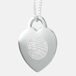 Heart Locket with fingerprint keepsake